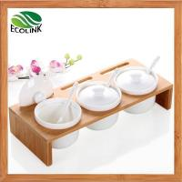 Wholesale Set of 3 Ceramic Spice Condiment Jars Container with Bamboo Lids and Bamboo Base from china suppliers