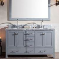 60 Inch Grey Double Bathroom Vanity Sets With Drawers