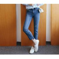 Wholesale Ladies Middle-Waist Fitted Straight Angled Hem Jean Pants from china suppliers