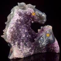Wholesale Bulk Customized Agate Crystal Horse Animal Head Sculpture from china suppliers