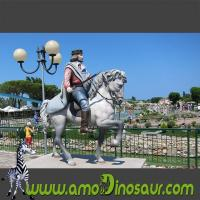 Life size colorful cartoon statue of soldier on a horse for park