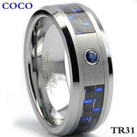 China TR31 8MM Tungsten Carbide Ring BLUE SAPP on sale