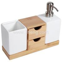 Wholesale NewDesign Bamboo Bath Accessories,Countertop Organizer And Soap Pump Set from china suppliers