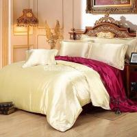 Camel And Wine Silk Bedding Set Duvet Cover Silk Pillowcase Silk Sheet Luxury Bedding