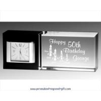 Buy cheap Clocks Personalized Black & Clear Crystal Desk Clock from wholesalers