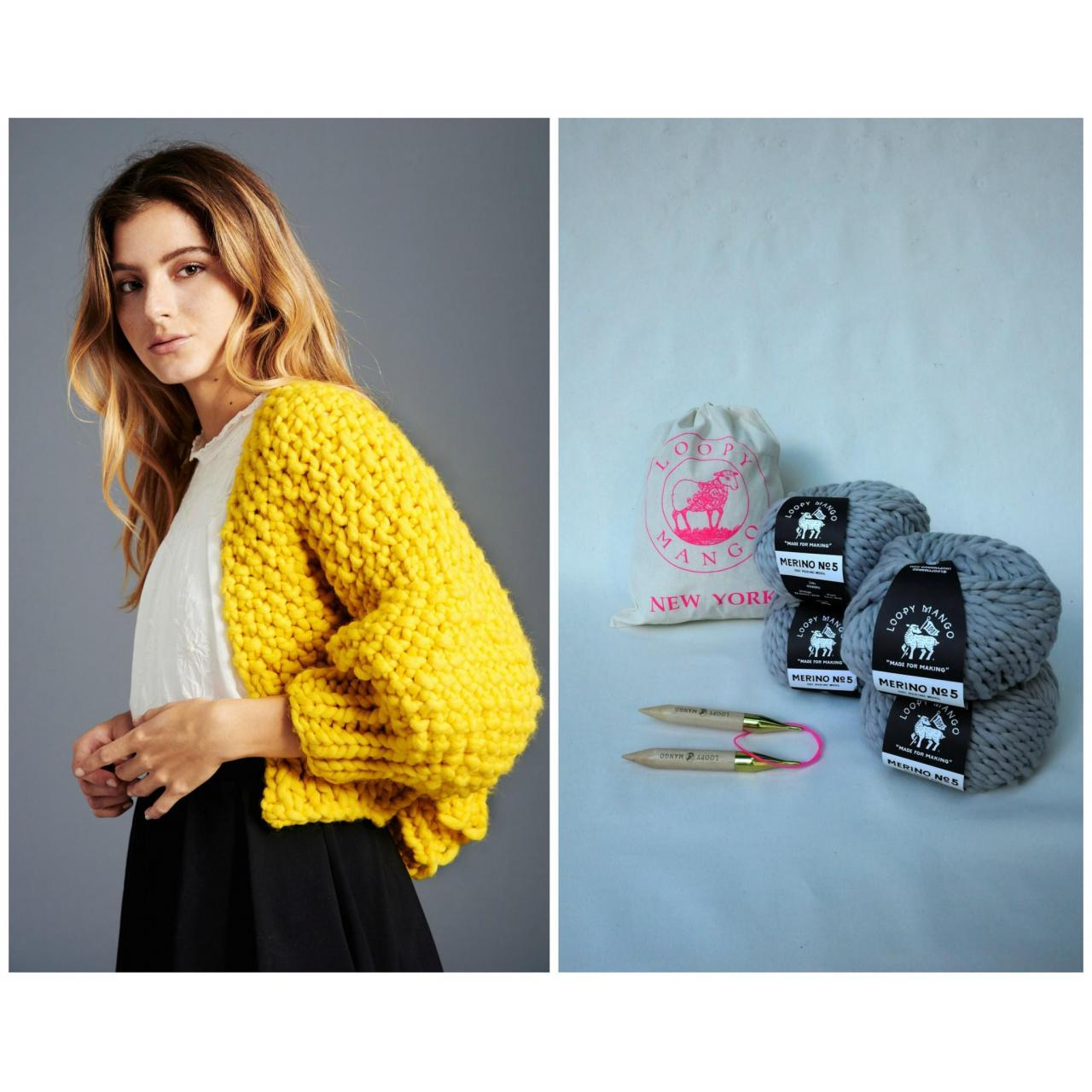 Wholesale DIY Kit - Super Cropped Cardigan - Chunky Merino Wool from china suppliers