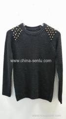 Quality 100%acrylic women's knitted round neck pullover with rivet for sale