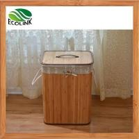 Wholesale Foldable Bamboo Laundry Basket Hamper with Lid and Liner from china suppliers