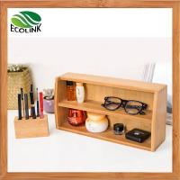 Wholesale Decorative Desktop Bamboo Cosmetic Beauty Products Makeup Organizer Storage Tray Caddy from china suppliers