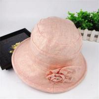 Wholesale Pink Cotton Middle Brim Bucket Hats with Flower for Women from china suppliers