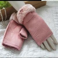 Wholesale Work Gloves Manufacturers Pink Fur and Flower White Pearl Fashion Women Suede Fingerless Gloves from china suppliers