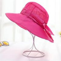 Wholesale Red Color Wide Brim Cotton Sun Beach Hats With Bowknot for Women from china suppliers