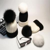 Wholesale Women Black And White 100% Acrylic Knit Warm Hat With Pompom from china suppliers