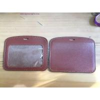 Wholesale round corner PU leather ID badge holder from china suppliers