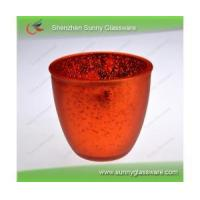 Red plating 495ml bowl-shaped glass candle holder