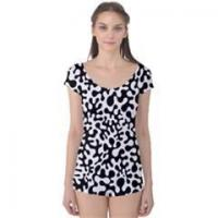 Wholesale Apparel Blue Hearts Valentine's Day Pattern Short Sleeve Leotard from china suppliers