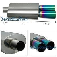 Wholesale Exhaust T304 Stainless Steel Muffler W/Dual 3 Flat Color Tips from china suppliers