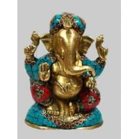 Wholesale Ganesh Sitting w/ Golden Stone Work from china suppliers