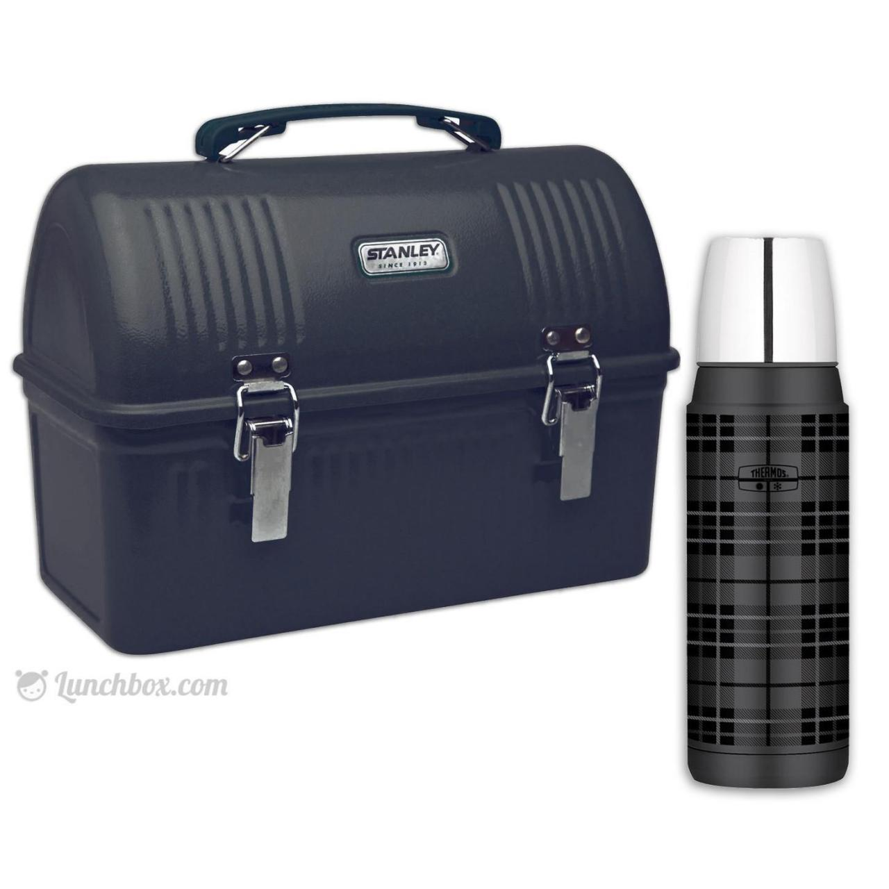 Black Dome Lunch Box with Thermos Bottle