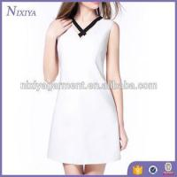 Wholesale Pure white dress 2017 lovely design for ladies OEM and ODM service from china suppliers