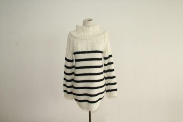 Quality Girl's Cabled And Striped Turtleneck Sweater for sale