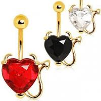 Wholesale Devilish Heart with Gold Plated Horns & Tail Jeweled Belly Button Ring ITEM ID: NYD010 from china suppliers