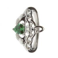 Sterling Silver Ladies Green CZ Claddagh Ring 14.6mm