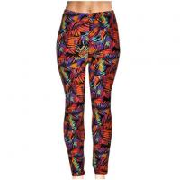 Wholesale New tide Fashion Spring and Autumn 3D Red leaves Floral Print Workout Leggings for Women from china suppliers