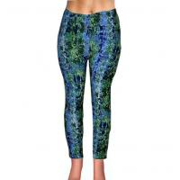 China Women Personality Printed Blue And Green Mixed Floral Flexible Casual Leggings on sale