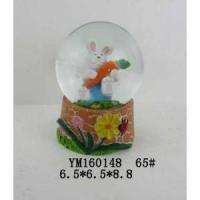 Wholesale Cartoon Bunny Polyresin 65mm Easter Snow Glass Ball from china suppliers