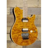 Music Man Axis with Trans Gold Quilt and Matching HeadstockModel# 300-Q1-11-00