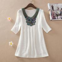 Wholesale Embroidered Chiffon Vintage Blouse Loose Shirt Short Sleeve Casual Plus Size from china suppliers