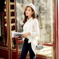 Wholesale Women Long Sleeve Lapel Neck Drill Shirt Formal OL Blouse from china suppliers