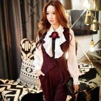 Wholesale Women Ruffle Lapel Neck Long Sleeve Shirt Vintage Formal Blouse from china suppliers