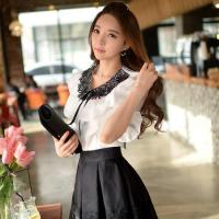 Wholesale Women Ruffle Round Collar Short Sleeve Vintage Shirt Solid Blouse from china suppliers