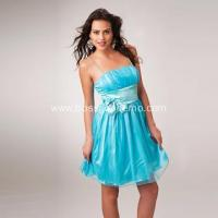 Wholesale Column Spaghetti Straps Mini Organza Ruffled Bow Cocktail Dress from china suppliers