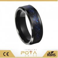 Buy cheap 8mm Blue Black Silvering Celtic Dragon Tungsten Carbide Ring Wedding Band from wholesalers