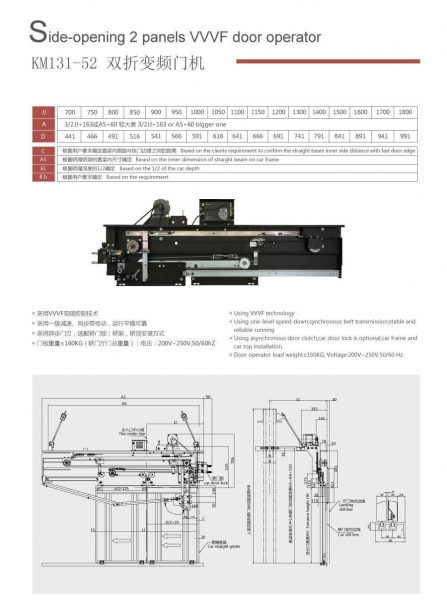 Quality KM131-52 Side-opening 2 panels VVVF door operator for sale