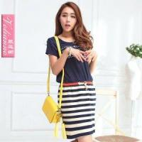 Wholesale 2013 t-shirt patchwork lacing black and white stripe one-piece d from china suppliers