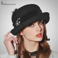 China black bowler hat for womenswear with velvet and feather diamond decoration FW005019 on sale