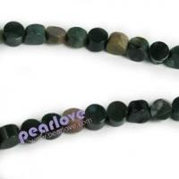 China GS39 8mm flat round Moss agate beads wholesale on sale