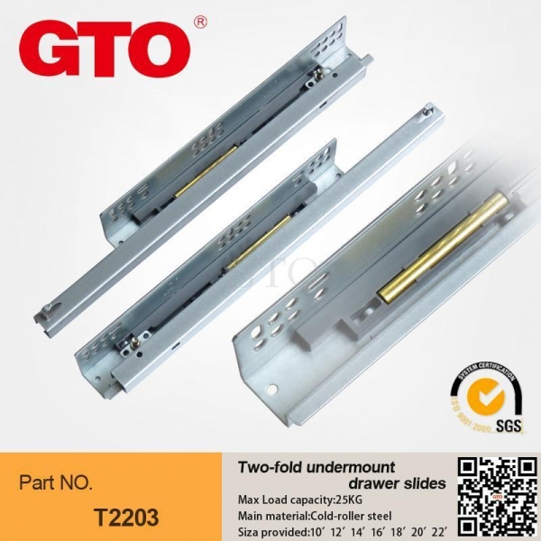 T2203 Single Extension Bottom Mount Drawer Slides For