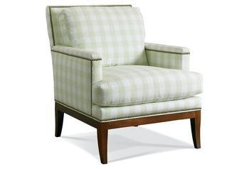 Gloria Plaid Club Chair Green White Furniture Living Room Armchair Accent C