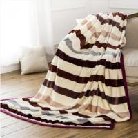 Wholesale Chromatic Stripe Printed Flannel Blankets Blankets & Throws from china suppliers