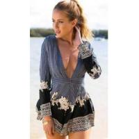 Fashion Women's V-Neck Floral Print Overall Romper