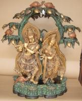 Wholesale Antique Bronze finish Metal statue of Radha-Krishna under a treeItem Code from china suppliers