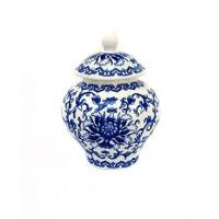 Ancient Chinese Style Blue and White Porcelain Tea Storage Helmet-shaped Temple Jar