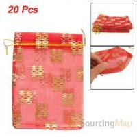 Wholesale 20 Pcs Gold Tone Double Happiness Printed Red Organza Gift Bags Gifts Packaging & Display from china suppliers