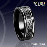 China 8mm Tungsten Carbide Ring IP Black Plated Flat Surface Grooved with Elegant Laser Ring on sale