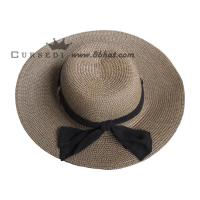China new Lady Women Large Wide Brim Straw Hat with Chin Strap Floppy Sun Beach Cap on sale